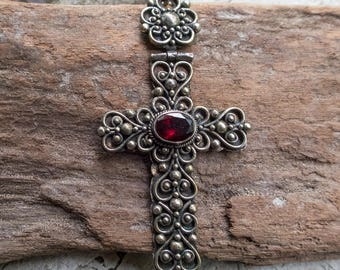 Sterling Silver and Garnet Filigree Cross Pendant || Earthy and Organic | Natural Garnet Stone | Vintage Religious Cross Pendant Under 50