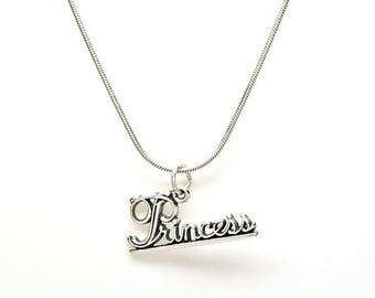 SALE Princess Sterling Silver Word Charm Pendant Customize no. 1979