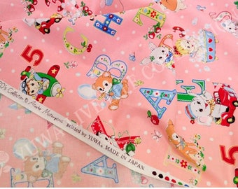 HALF YARD Yuwa - Happy Baby on Pink - Atsuko Matsuyama 822366-A - Cute Animals and Alphabet Letters - Japanese Fabric