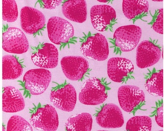 HALF YARD Kiyohara - Jumbo Strawberries on Light PINK - 95-pp -  Imported Japanese Fabric