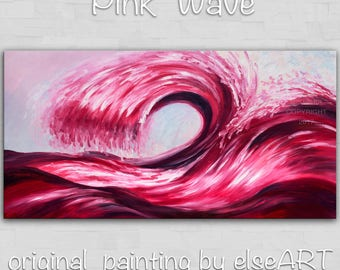 Sale Art, painting, oil painting, Pink Rolling Wave, landscape painting, wall decor canvas, oil painting, abstract painting, by Tim Lam, 48""