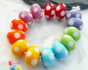 Lampwork Glass Beads Rainbow Sherbet Polkas Delux, Rainbow Beads, Dotty Beads, Spotty Beads, Polka Dots