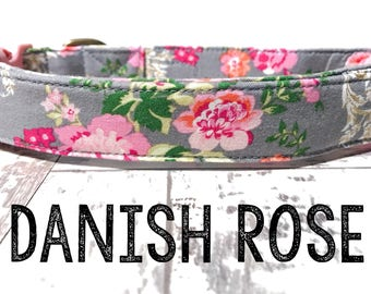 "Vintage Dog Collar - Floral Dog Collar - Girl Dog Collar - Shabby Chic Dog Collar - Antique Brass Hardware - ""Danish Rose"""