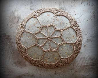 Lace Stone, Crocheted, Table Decorations, Original, Handmade, Home Decor, Light Mocha Brown, Collectible, Monicaj