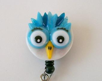 ID badge Fused Glass Owl Badge Holder (Blue)