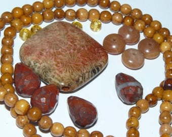 Coral and Jasper Necklace Bead Kit  #P4A29-01