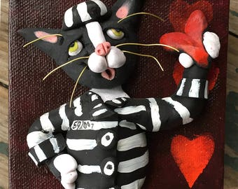 Cat Valentine - Valentines Day Gift - Jailbird Tuxedo Cat - OOAK Cat Art - Original Painting - Polymer Clay on Canvas - Gift for Cat Lover