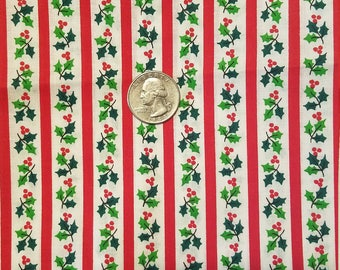 Cranston Holly Stripe Christmas Fabric 5.25 continuous yards