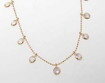 Cubic Zirconia Drop Necklace, 16 Inch 14K Yellow or White Gold
