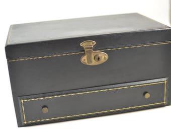 Mid Century Jewelry box Bond Street NY usa black
