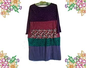 Patchwork Upcycled Tunic / Tee shirt Dress. Size Medium - Large. Uk 14 - 16. Recycled / Unique / Refashion.