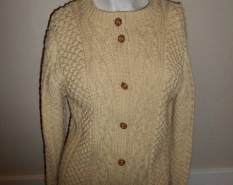 Vintage Wool sweater   handmade  winter warm  thick button up cardigan                     womens
