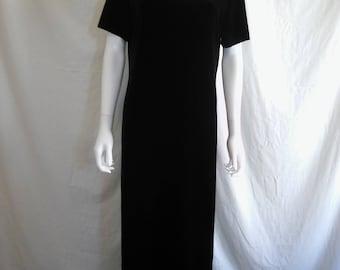 90s black velvet long dress