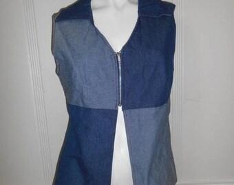 Closing Shop 40%off SALE 90s jean zip vest top shirt, blue patch top shirt