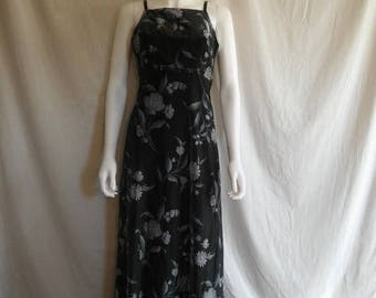 Closing Shop 40%off SALE 90s floral sparkly dress, long dress