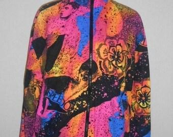 Closing Shop 40%off SALE Vintage 90s Neon SPEEDO windbreaker jacket  Beach Sea punk Rave Club Kid Surf   S small  over sized