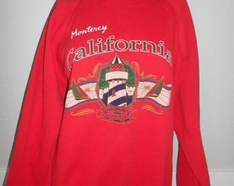 Closing Shop 40%off SALE Vintage 80's red Pull Over Sweatshirt     Monterey California