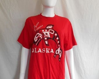 Closing Shop 40%off SALE ALASKA red t shirt, tourist souvenir t shirt