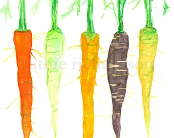 Vegetable Carrots Watercolor Painting Kitchen Art