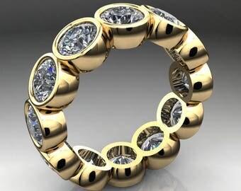 luna ring – 6 carat NEO moissanite eternity band, bezel set ring