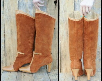 Mod Boots, Slouch Boots, Us 7.5 7 1/2, Uk 5.5, Eu 38, Suede Boots, Tall Suede Boots, Two Tone Boots, High Heel Boots, USA made,