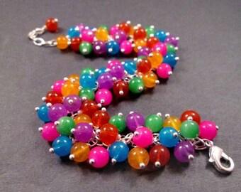 Silver Cha Cha Bracelet, Rainbow Colors, Glass Beaded Bracelet, FREE Shipping U.S.