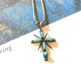 Vintage Native American Blue Turquoise & Sterling Silver Cross Necklace - Turquoise Cross, Rays, Liquid Silver Necklace, Navajo, Christian