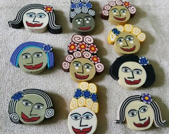Ladies of the World Fimo Polymer Clay Face Faces Beads  10