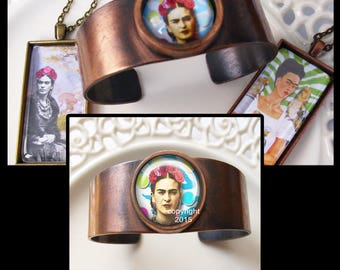 Frida Kahlo cuff bracelet, original art, gift boxed ...READY TO SHIP  Frida Kahlo jewelry
