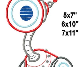 Red Machine Aplique Design Embroidery Pattern 5x7 6x10 7x11 INSTANT DOWNLOAD