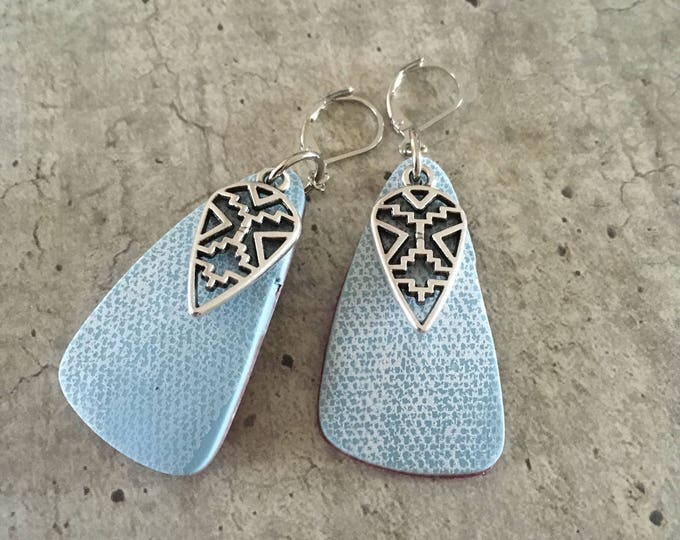Pair of earrings in polymer clay - effect jeans - new collection