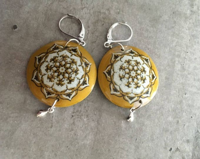 polymer clay earrings pair -- new