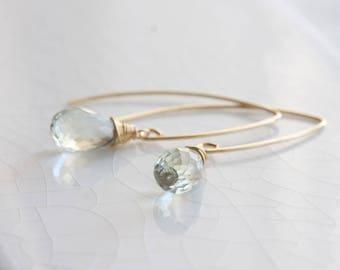 Green amethyst earrings - 14k gold filled prasiolite earrings, green amethyst dangle earrings, green amethyst jewelry, long drop earrings