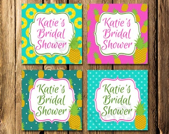 Printable Pineapple Tropical Bridal Shower Gift Tags