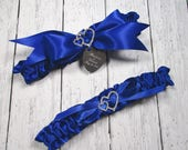 Royal Blue Wedding Garter Set, Personalized Satin Garters with Engraving and Rhinestone Linked Hearts