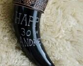 Engraved Viking drinking horn, Brass rim, birthday, anniversary, custom made, leather strap, Celtic, gift.