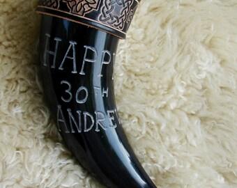 Engraved Viking drinking horn, birthday, anniversary, custom made, leather strap, Celtic, gift.