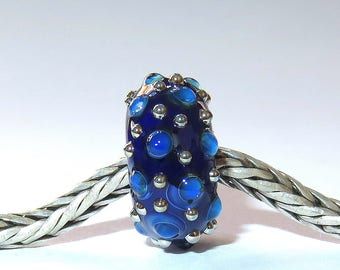 Luccicare Lampwork Bead - Royal Drops -  Lined with Sterling Silver