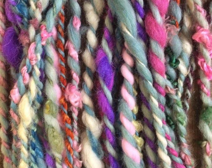 What a Girl Wants, wild art yarn, 30 yards, multicolored textured art yarn, handspun, bulky wild yarn, JUMBO yarn