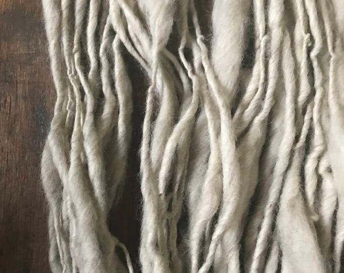 First Frost - handspun yarn, 52 yards chunky white yarn, rustic handspun yarn, undyed art yarn, llama alpaca wool luxury yarn