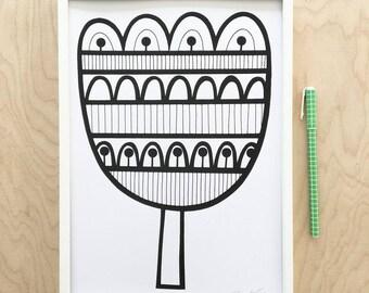 Monochrome Tulip Screen Print by Jane Foster