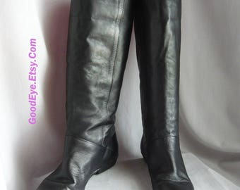 Vintage Black Leather PIXIE Boots / Size 7 .5 M Eu 38 Uk 5 / Slouchy Pirate Wide Leg Flat Cuff / 1990s Made Brazil