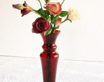 Vintage Ruby Red Glass Bud Vase Tall Elegant Shape for Holidays Wedding Vanity Tables
