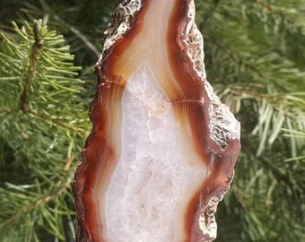 25% off Standing Agate Slice, Polished with Raw Edges