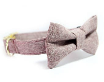 Bowtie Dog Collar - Wedding Collar - Dutsy Rose Collar, Rust Linen Dog Collar