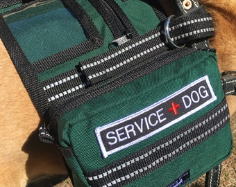 Backpack Service Dog vest for attaching to Guide, saddlebag vest for Mobility or Assistance type Harness, Hunter Green, VEST ONLY