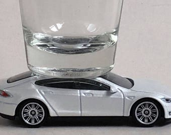 The ORIGINAL Hot Shot, Classic Hot Rods, Shot Glass, White Tesla Model S, Matchbox car