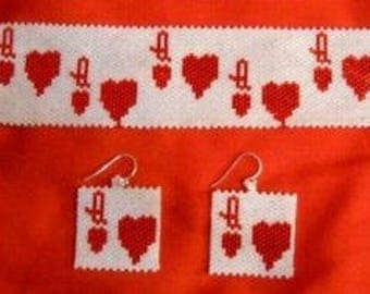 Queen of Hearts Cuff Bracelet and Earrings Set Pattern
