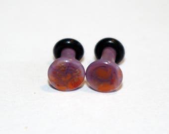12g Purple and Orange Pattern Glass Plugs Body Jewelry 12 Gauge 2mm Piercing