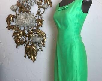 1960s dress set dress and jacket lime green dress size small cocktail dress mod dress 60s 2 piece set 32 bust